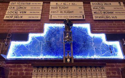 Indigo Glass Backsplash at Taproom in Southern Strain Brewery